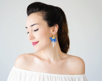 30% Inspiration Royal Blue Earrings Tassel Earrings Girlfriend Gift For Mom Hoop Earrings Lace Earrings Statement Earrings / ORECA