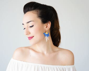 Summer Outdoors 4th July Royal Blue Earrings Tassel Earrings Girlfriend Gift For Mom Hoop Earrings Lace Earrings Statement Earrings / ORECA