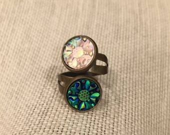 12mm Spiral Flower, Blue and Crystal Double Bezel Bronze Adjustable Ring