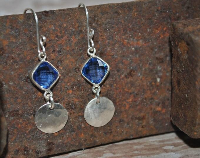 Sterling silver dangling earrings, textured metal earrings, navy blue, artisan earrings