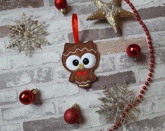 Gingerbread owl ,felt gingerbread men, Christmas tree  decoration