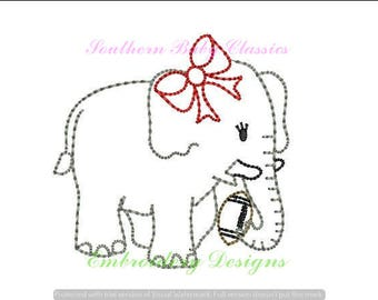 Elephant Football Girl Bow Vintage Bean Quick Stitch Line Work Design File for Embroidery Machine Instant Download Girl Hand Stitched Look