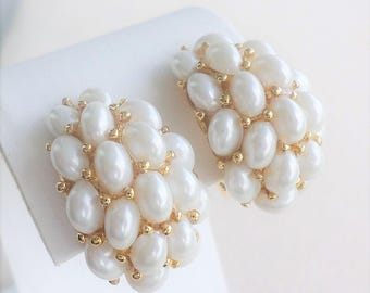 Kenneth Jay Lane Pearl Cluster Earrings - Clip On - S2119