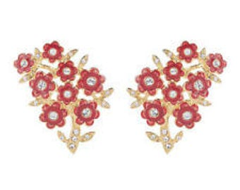 Jackie Kennedy 24K GP Earrings - Red Flowers with Crystals, Box and Certificate