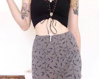 90s Cyber Vintage Full Length Maxi Skirt Metallic Mini Beaded Print Size Medium