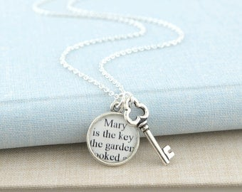 Secret Garden Key Necklace / The Secret Garden / Secret Garden Book Jewelry / Book Lover Gifts For Readers / Literary Jewelry