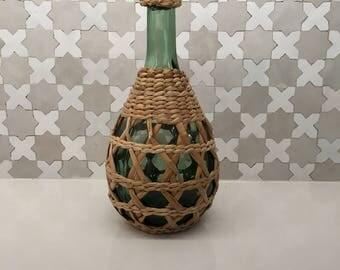 Vintage Rattan Wicker Green Glass Bottle