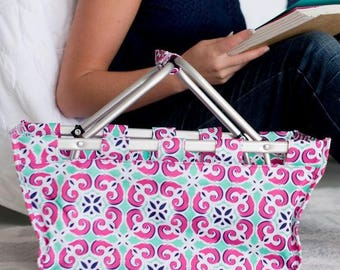 Personalized Market Tote Pink Mint Floral Tile Monogrammed Shopping Tote