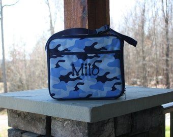 Boys Monogrammed Blue Camouflage Lunch Bag Personalized Camo Lunch Tote