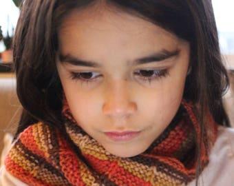 Child hand knit  neckwarmer