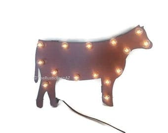 Show HEIFER Cow MARQUEE lighted sign made of Rusted Recycled Metal Vintage Inspired