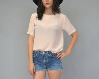1980s blush silk blouse