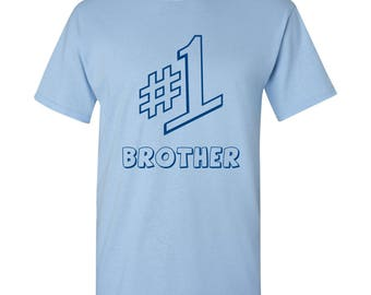 Number 1 Brother T Shirt - Light Blue