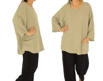 IA900TP ladies tunic blouse linen vintage size 46 48 50 52 portable taupe