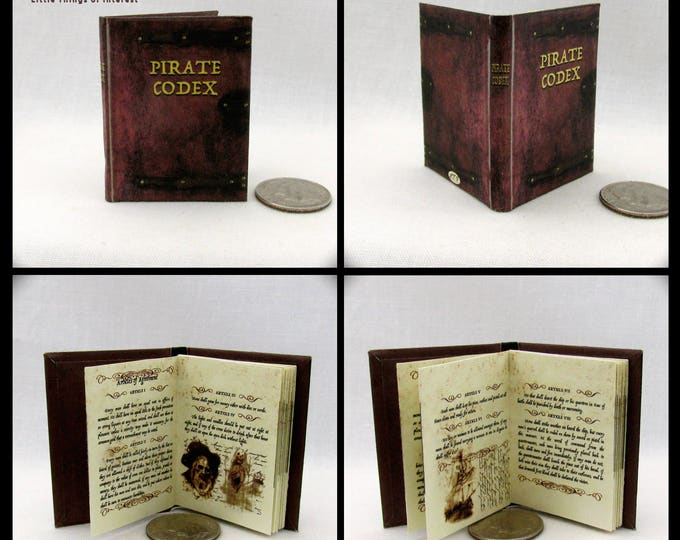THE PIRATE CODEX 1:6 Scale Readable Illustrated Miniature Book Pirates of the Caribbean Play Barbie Scale Jack Sparrow Barbosa