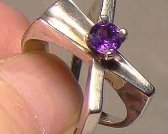 C. Noir Ultra Modern Studio Amethyst Sterling Ring - Size 6-1/2