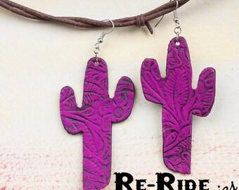 Leather Cacti Earrings- Neon Purple