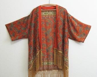 Orange Tassel Asian Drape Jacket Blouse Sheer - Medium Large