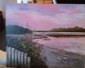 oil painting Breachway sunset