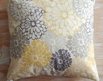"Floral,Grey,Yellow,white,throw pillow cover, floral,daisies,neutral,modern,transitional decor,farmhouse decor,18"""