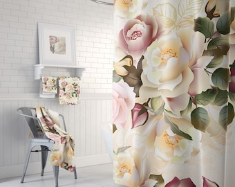 Bathroom Set, Beautiful Shower, Rose Shower Curtain, Floral Bath Curtain, French Country Decor, Bath Towels, Bath Mat, 71 x 74 inches