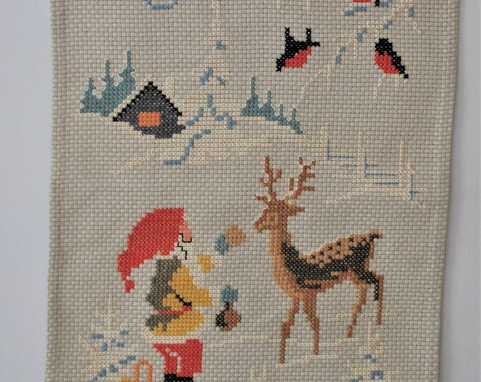 Vintage Swedish God Jul Wallhanging Cross Stitch Christmas