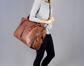 The Vagabond Large: Vintage style brown leather holdall duffle weekend bag cabin flight luggage unisex womens personalised monogram