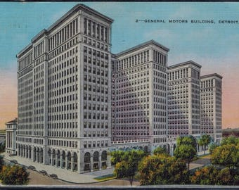 Vintage General Motors Building Detroit Michigan Linen Postcard Used 1937