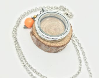 30mm Floating Locket - silver rolo chain with orange bangle