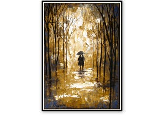 Large Original Oil Painting- Palette Knife- Couple In The Rain- Colorful Landscape- Oil On Canvas- Umbrella Painting - Contemporary Fine Art