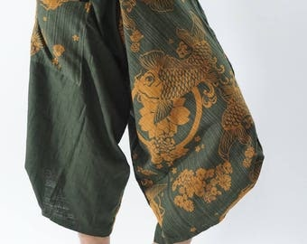 SR0289 Samurai pants with Unique Hilltribe fabric Wrap Around