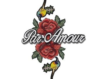 Embroidered Mix Patches Appliques, Flowers Patches, Birds Patch, Roses Patches, Par Amour Patch