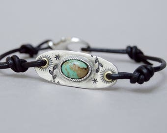 Sterling Turquoise Bracelet. Turquoise . Leather .  Handmade  . Rustic . Earthy . Boho . Hand Stamped .  Bracelet