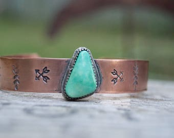 Campitos Turquoise Bracelet . Copper Bangle . Hand Stamped. Rustic . Earthy . Boho . Mixed Metals