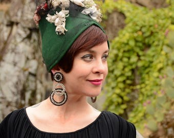 Custom Order: Vintage-Style Felt Turban Topped with Vintage Flowers, Veiling, and Faux Bird