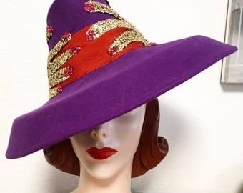 Custom Order: Vintage 1940s-Style Felt Wide Brim Tilt Hat with Two Surrealist Sequined Hands