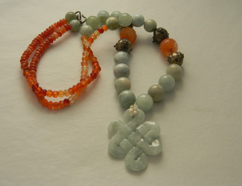 jade infinity mystic knot pendant w aquamarine carnelian