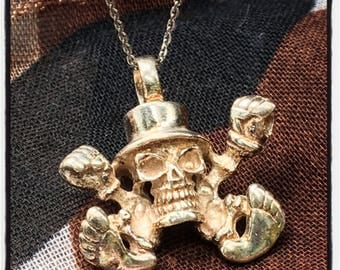 Sterling Silver Skull Pendant Skull Pendant Skull Necklace Silver Skull Pendant Silver Skull Top Hat Pendant Badass Biker Outlaw Pendant