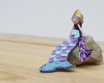Mermaid Doll - waldorf mermaid doll, felt mermaid doll, miniature mermaid doll, OOAK mermaid doll, mermaid doll gift, mermaid waldorf