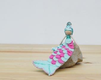 Mermaid Doll - miniature mermaid doll, felt mermaid doll, waldorf mermaid doll, mermaid gift, OOAK mermaid doll