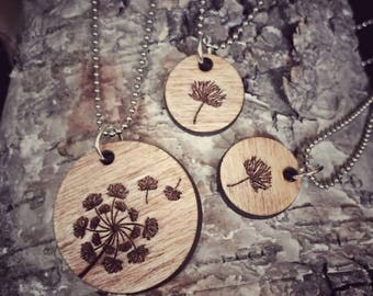 Engraved Wood Mother Daughter Dandelion Necklace Set 3 Piece