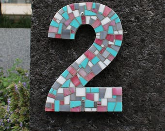 Custom Address Numbers in Mosaic Tile in Turquoise, Coral, Dark Grey and White Stained Glass Tiles, Mosaic House Numbers