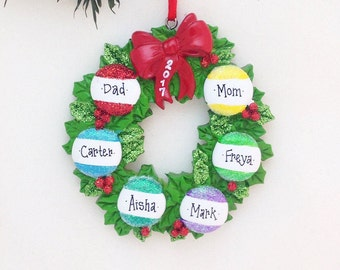 6 Family Member Personalized Ornament / Wreath with Six Ornaments / Personalized Christmas Tree Ornament