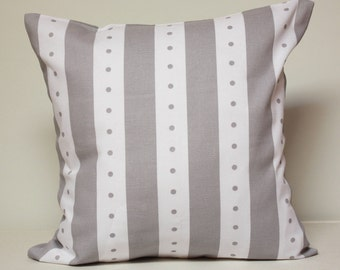 Baby Pillow, gray baby pillow, Gray and white lines and dots pattern, nursery decor, grey pillow cover, READY TO SHIP!