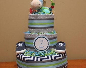 Blanket and Rattle Diaper Cake