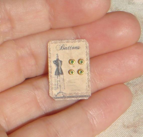 Miniature vintage button card