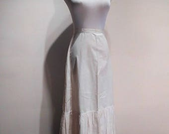 Antique Cotton Broadcloth and Cotton Eyelet Lace Petticoat. c. 1910