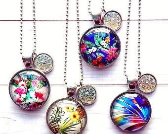 Summer Lovin' glass cabochon necklace