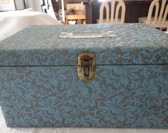 Sewing Storage Box Light Blue Vinyl Floral Motif Craft Supplies Vintage Container
