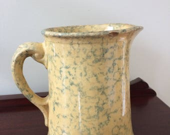 Antique Spongeware Pitcher - Yellow Ware with Green Sponge